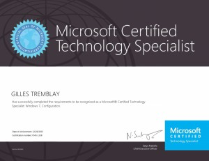 Microsoft Certified Technology Specialist - Windows 7, Configuration