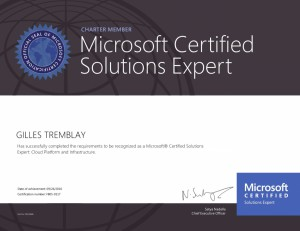 Microsoft Certified Solutions Expert - Cloud Platform and Infrastructure (Charter)